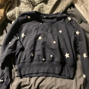 Starry Cropped Sweatshirt in Navy